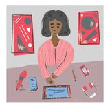 Podcast concept. Vector color design illustration. Podcaster. Young woman recording a podcast in a studio.  Vector color illustration in flat style stock illustration