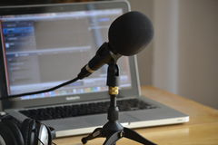Podcasting studio Royalty Free Stock Photos