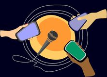Podcasting and web radio concept. Three hands of different colors with smartphones pointed at the microphone stock illustration