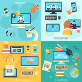 Podcasting and webinar design concept. Set with e-learning flat icons isolated vector illustration Stock Photos