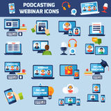 Podcasting and webinar icons set Stock Photography