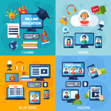 Podcasting and webinar set. Podcasting and webinar design concept set with e-learning flat icons  vector illustration Stock Image