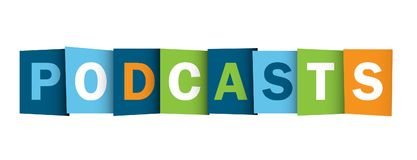 PODCASTS overlapping letters banner royalty free illustration