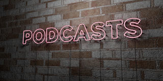 PODCASTS - Glowing Neon Sign on stonework wall - 3D rendered royalty free stock illustration. Can be used for online banner ads and direct mailers royalty free illustration