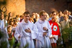 Podczas świętowania uczta Corpus Christi także znać jako korpus językowy Domini (ciało Chrystus) Obraz Royalty Free