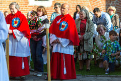 Podczas świętowania uczta Corpus Christi także znać jako korpus językowy Domini, (ciało Chrystus) Obrazy Royalty Free