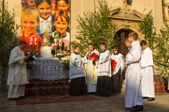 Podczas świętowania uczta Corpus Christi także znać jako korpus językowy Domini, jest łacina obrządku odświętności bel (ciało Chr Zdjęcie Stock