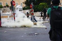Podczas Merkel gwałtowni zderzenia odwiedzają w Ateny Obraz Royalty Free
