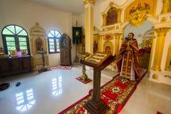 Podczas Niedziela usługa w rosyjskim kościół prawosławnym Fotografia Stock