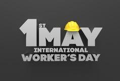 1 pode Dia do Trabalhador Dia internacional do ` s do trabalhador 3D que ilustra Foto de Stock Royalty Free