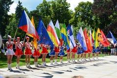 Podebrady, чехия: 18 6 2016: Команда majorettes, национальный чемпионат чехии Стоковое фото RF