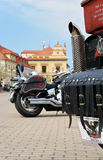 Podebrady Czech republic 04.09.2017 bike on square. Podebrady, Czech republic, 9 April 2017: close up view of motorcycle bike stay on central square Royalty Free Stock Photography