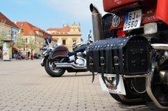 Podebrady Czech republic 04.09.2017 bike on square. Podebrady, Czech republic, 9 April 2017: close up view of motorcycle bike stay on central square Stock Photography