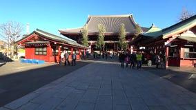 Podejście główna sala Sensoji świątynia, Tokio zdjęcie wideo