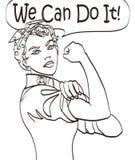 Podemos hacerla Símbolo del puño de la mujer icónica del vector fresco del poder y de la industria femeninos la mujer de la histo Foto de archivo libre de regalías