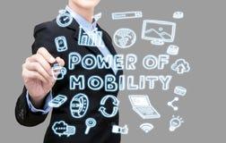 Poder da escrita da mulher de negócio do conceito da ideia da mobilidade imagem de stock royalty free