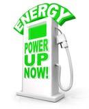 Poder de la energía para arriba ahora en las palabras del surtidor de gasolina Imagen de archivo libre de regalías