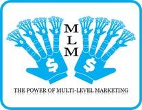 Poder de la mano de niveles múltiples del márketing de MLM Imagen de archivo