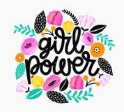 Poder de la muchacha - ejemplo handdrawn Cita del feminismo hecha en vector Lema de motivación de la mujer Inscripción para las c libre illustration
