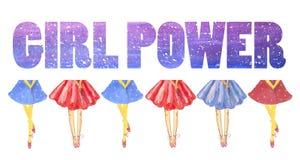 Poder de la muchacha de la tarjeta Las piernas de la muchacha en faldas azules y rojas enormes stock de ilustración