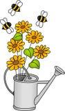Poder de riego con las flores y las abejas Imagenes de archivo