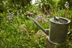 Poder de riego rodeada por las flores en un jardín fotos de archivo