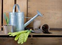 Poder de riego y herramientas que cultivan un huerto en los embalajes de madera Fotos de archivo libres de regalías