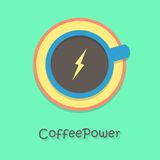 Poder del café con la taza azul Foto de archivo libre de regalías