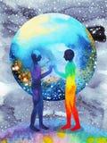 Poder del ser humano y del universo, pintura de la acuarela, reiki del chakra, universo del mundo dentro de su mente Fotografía de archivo