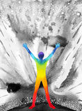 Poder del ser humano y del universo, pintura de la acuarela, reiki del chakra, universo del mundo dentro de su mente Foto de archivo libre de regalías