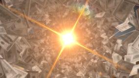 Poder do dinheiro, luz que brilha através das notas de dólar, oportunidades de investimento Foto de Stock