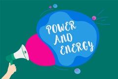 Poder e energia do texto da escrita da palavra O conceito do negócio para a indústria elétrica da distribuição da eletricidade en ilustração royalty free