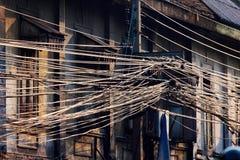 Poder e fios de telefone imagem de stock