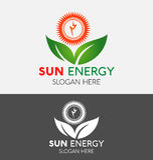 Poder Logo With Green Ecology Leaf da energia de Sun ilustração do vetor