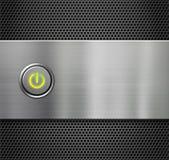 Poder o tecla de partida en la placa de metal Imagen de archivo