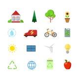 Poder plano de la energía alternativa del verde del eco de los iconos del app del sitio web Imagen de archivo