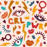 Poder sem emenda das meninas do teste padrão ilustração do vetor