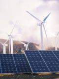 Poder solar de Eco y generadores de viento Foto de archivo