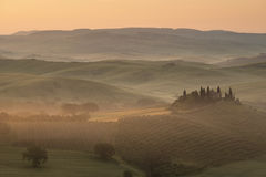 Podere Belvedere - San Quirico d'Orcia, Val d'Orcia, Tuscany. Stunning view at sunrise of Podere Belvedere, the most famous location in San Quirico d'Orcia, Val Stock Photos