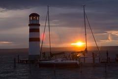 Podersdorf, φάρος στο ηλιοβασίλεμα Στοκ φωτογραφία με δικαίωμα ελεύθερης χρήσης