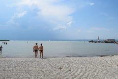 Podersdorf am Widzii plażę, Neusiedler Widzii, Austria Obraz Royalty Free