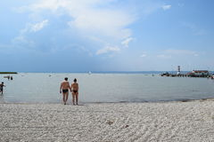 Podersdorf am ziet strand, ziet Neusiedler, Oostenrijk Royalty-vrije Stock Afbeelding
