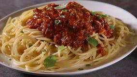 Podesłania oregano opuszcza nad spaghetti z pomidorem z tuńczyka kumberlandem nad gotowanym spaghetti zdjęcie wideo