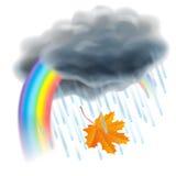Podeszczowa ilustracja Realistyczne szare chmury, raindrops i tęcza, ilustracja wektor