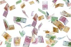 Podeszczowa prysznic euro pieniędzy banknoty Pieniądze, finanse i gospodarki pojęcie, obraz royalty free