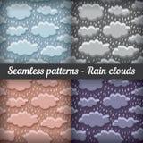 Podeszczowe chmury burza bezszwowy wzoru kreskówki serc biegunowy setu wektor Obrazy Royalty Free
