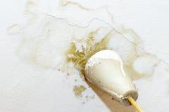 Podeszczowej wody przecieki na suficie przez uszkadzaj?cego dachowego powoduje gnicia, strugaj?cy farb? i ple?niowy zdjęcie royalty free