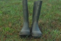 Podeszczowi buty, gumowi buty stoi na mokrej łące Obrazy Royalty Free