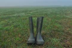 Podeszczowi buty, gumowi buty stoi na mokrej łące Obraz Stock