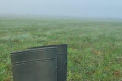 Podeszczowi buty, gumowi buty stoi na mokrej łące mgła Zdjęcia Stock